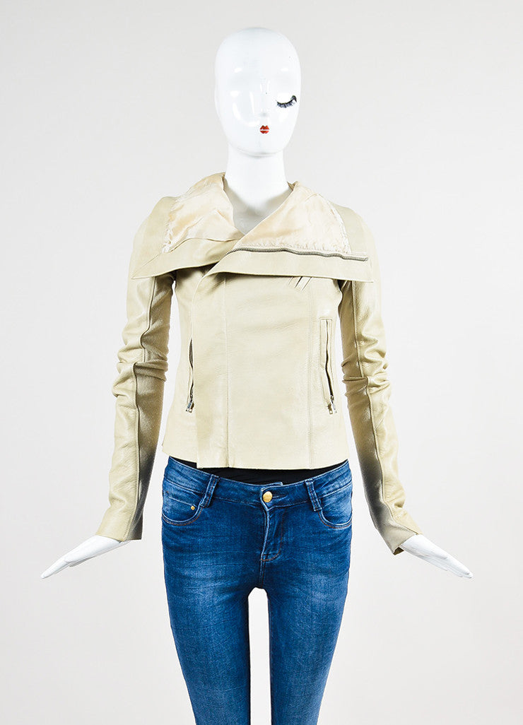 Beige Rick Owens Leather Draped Collar Jacket Frontview 2