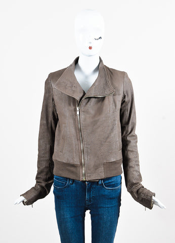 "Rick Owens ""Dust"" Dark Taupe Lambskin and Wool Asymmetrically Zipped Jacket Frontview 2"