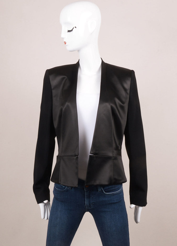 Roland Mouret New With Tags Black Satin Crepe Contrast Peplum Blazer Jacket Frontview