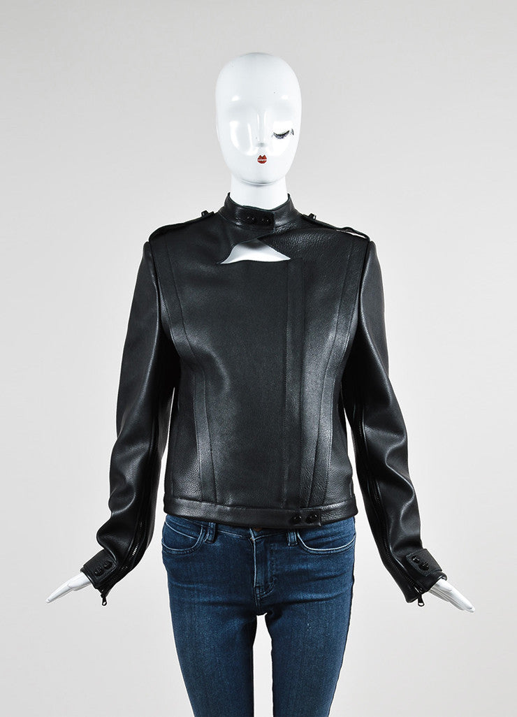 Black Sally Lapointe Leather Asymmetrical Biker Jacket Frontview 2