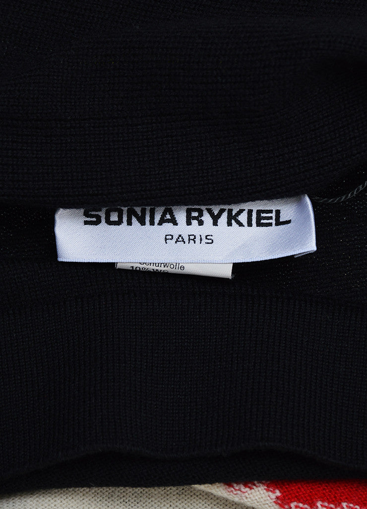 Black Sonia Rykiel Sweater Knit Tie Back Portrait Graphic Attached Scarf Brand