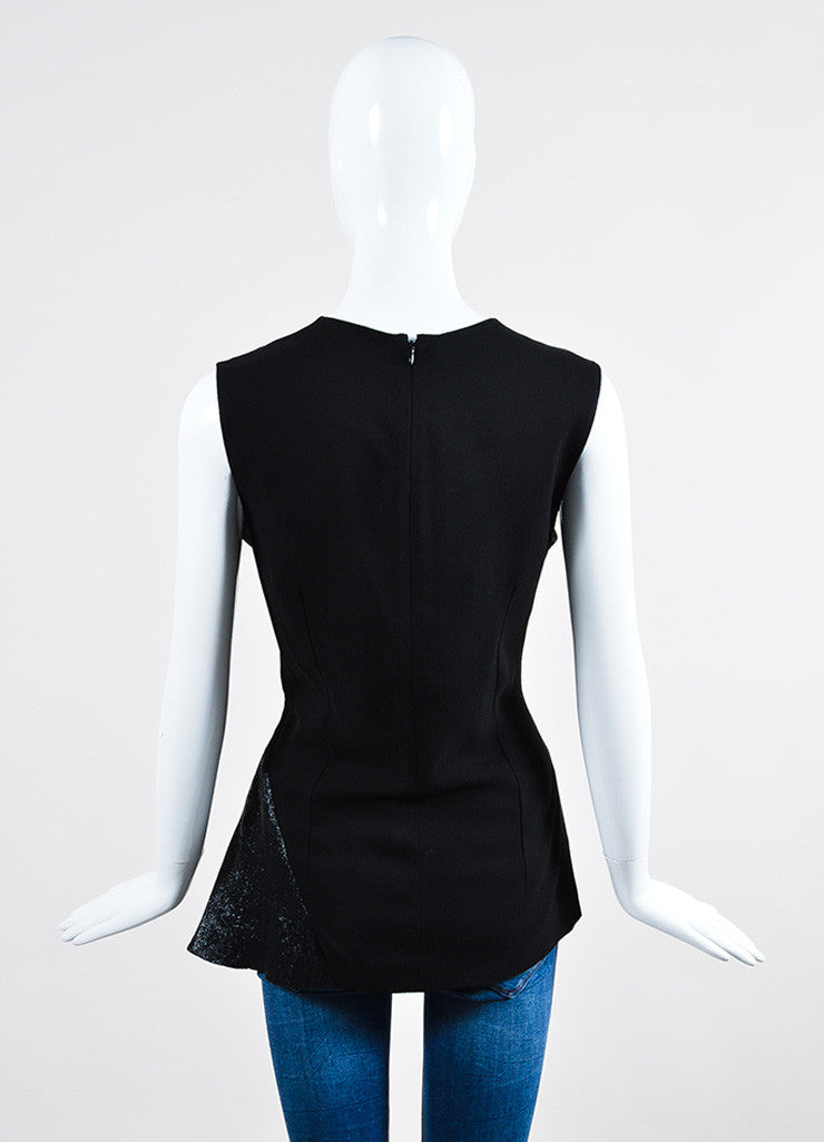 Navy and Black Stella McCartney Mixed Media Paneled Sleeveless Top Backview