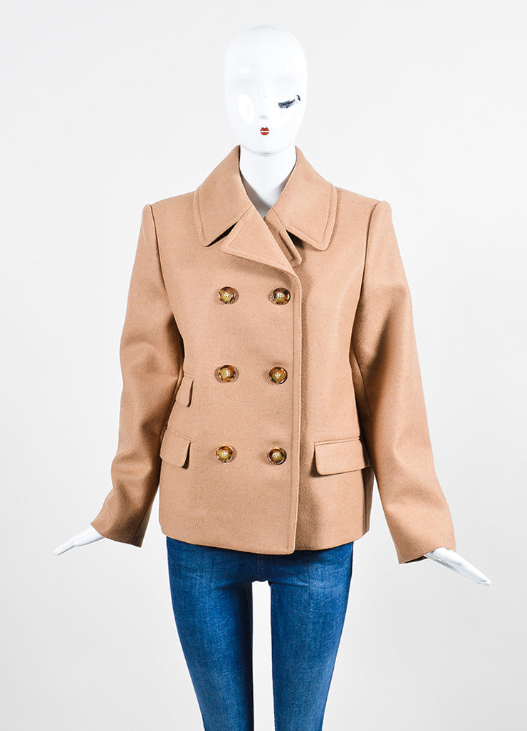 Tan Stella McCartney Camel and Wool Double Breasted Short Peacoat Frontview 2
