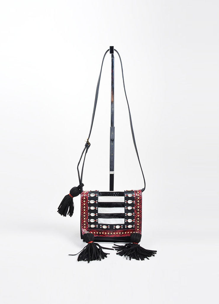 "Black and Red Tamara Mellon Leather Snake Shell Tassel ""Charisma"" Bag Frontview"