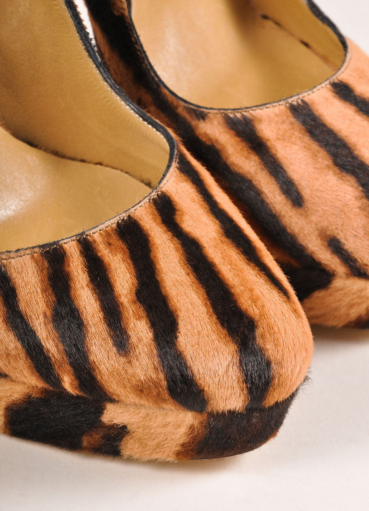 Tania Spinelli New In Box Tan and Black Pony Hair Tiger Print Platform Pumps Detail