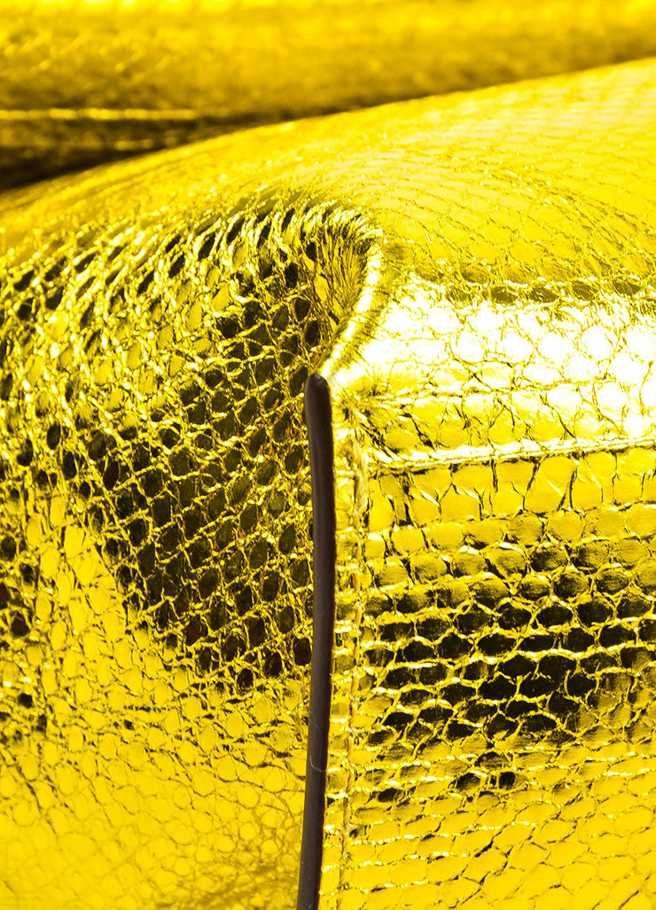 The Row Gold and Yellow Metallic Python Small Flap Bag Detail