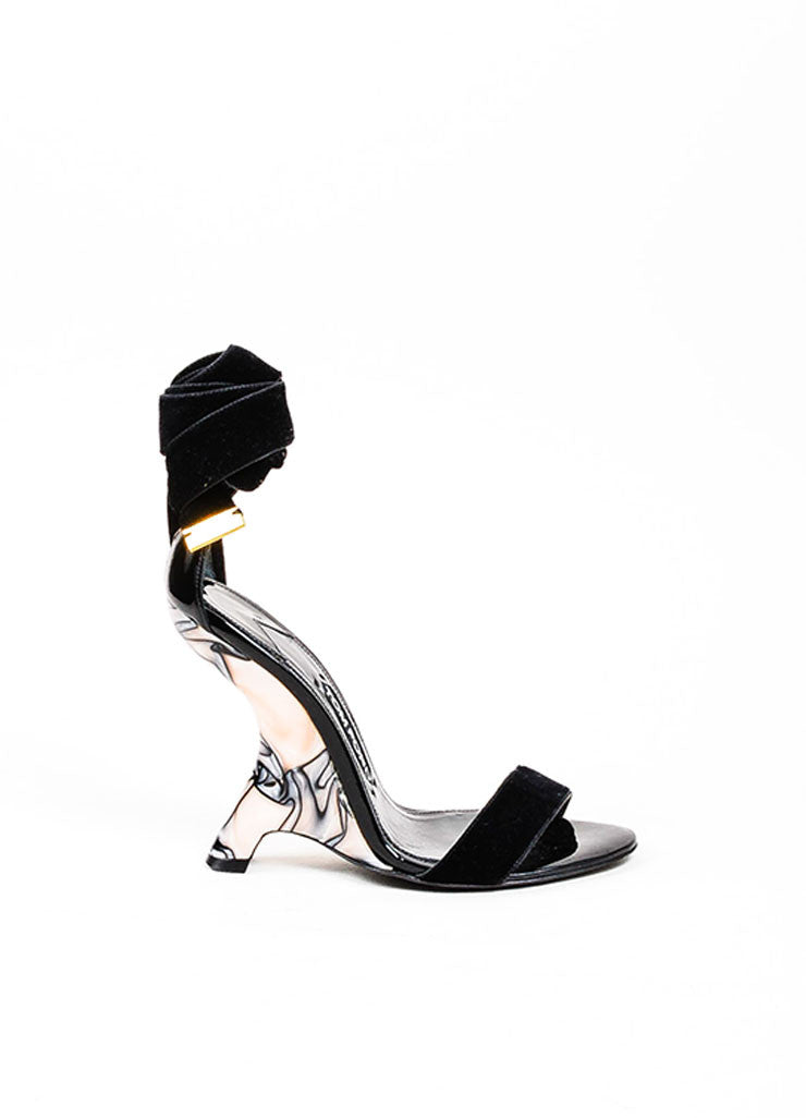 Black, Grey, and Pink Pearlized Ribbon Wrap Structural Wedges Sideview