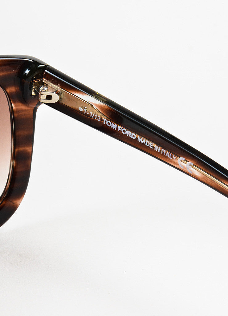 "Brown Tom Ford Striped Frame Ombre Lens Square ""Christophe"" Sunglasses Brand"