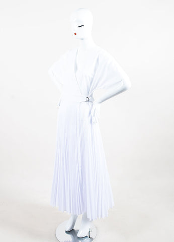 Tome White Wrap V-Neck Pleated Short Sleeve Dress Sideview
