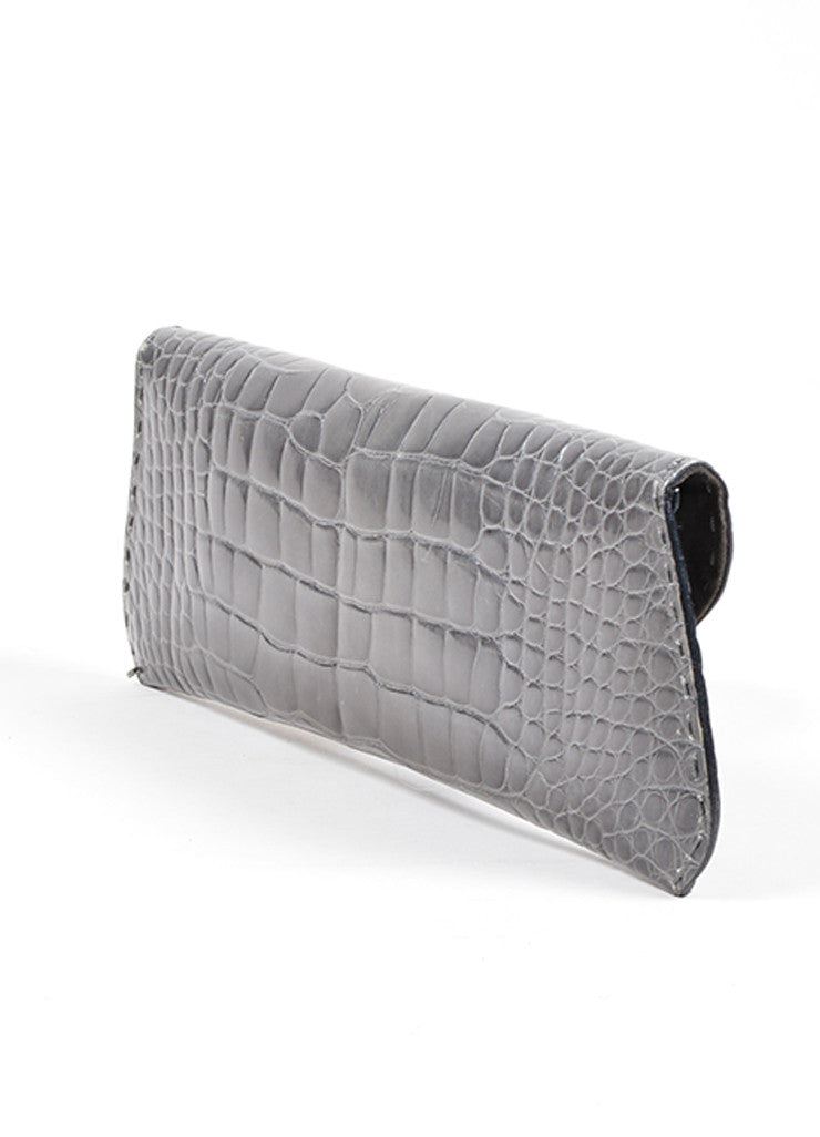 "VBH Slate Gray Crocodile Skin Leather ""Martini"" Clutch Handbag Back"