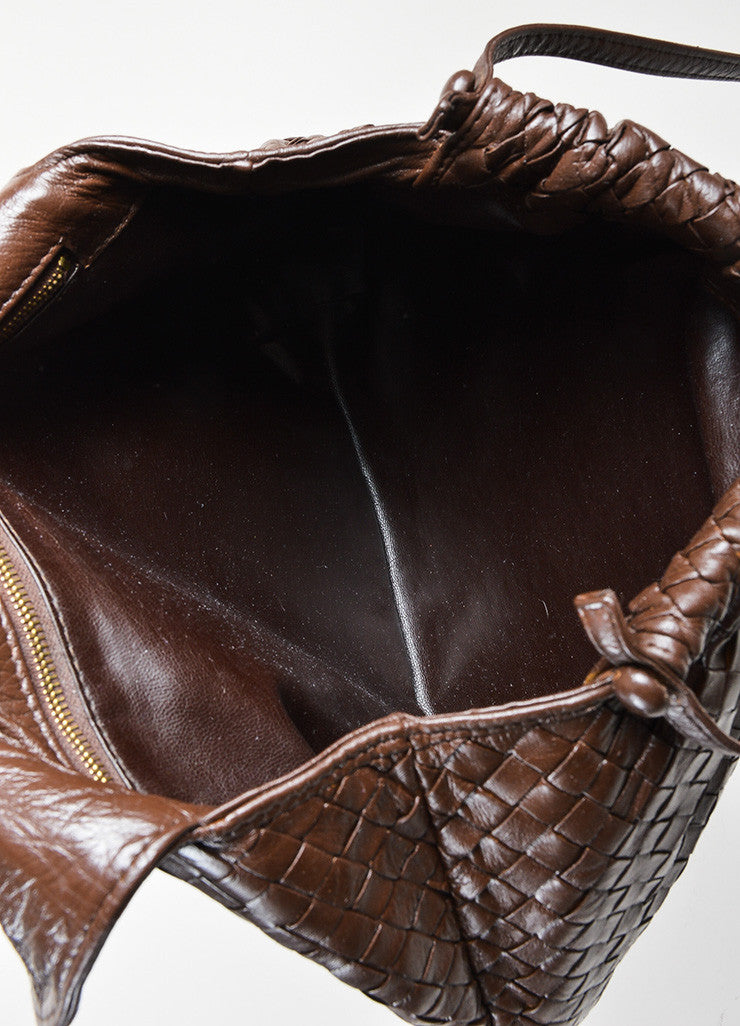 Bottega Veneta Brown Woven Leather Shoulder Bag Interior