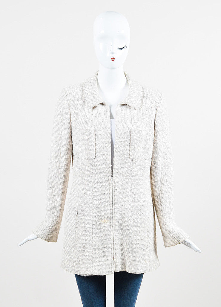 Chanel Beige and Metallic Wool Blend Long Structured Jacket Frontview 2