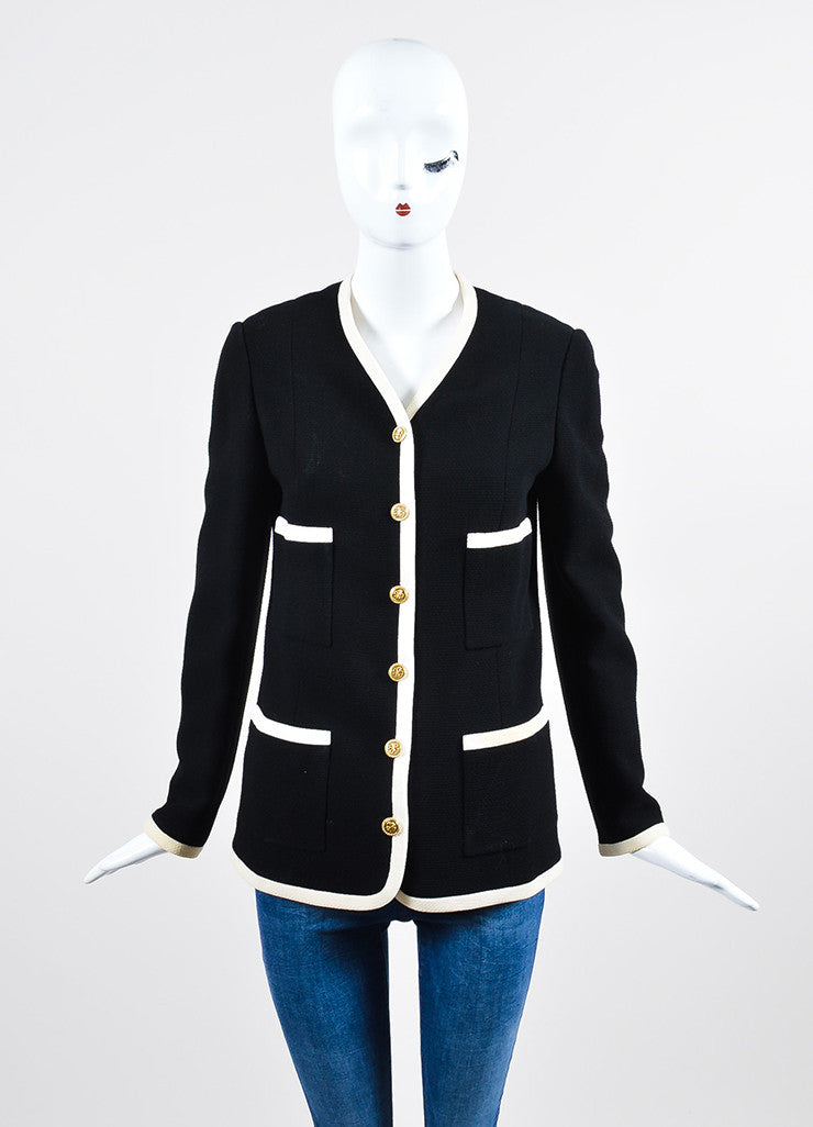 Black and Cream Chanel Wool Gold Toned Shamrock Button Jacket Frontview 2