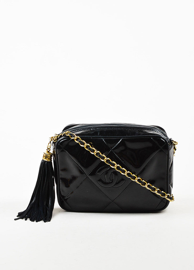 Chanel Black Patent Leather Gold Toned Chain Zip Tassel Shoulder Bag Frontview