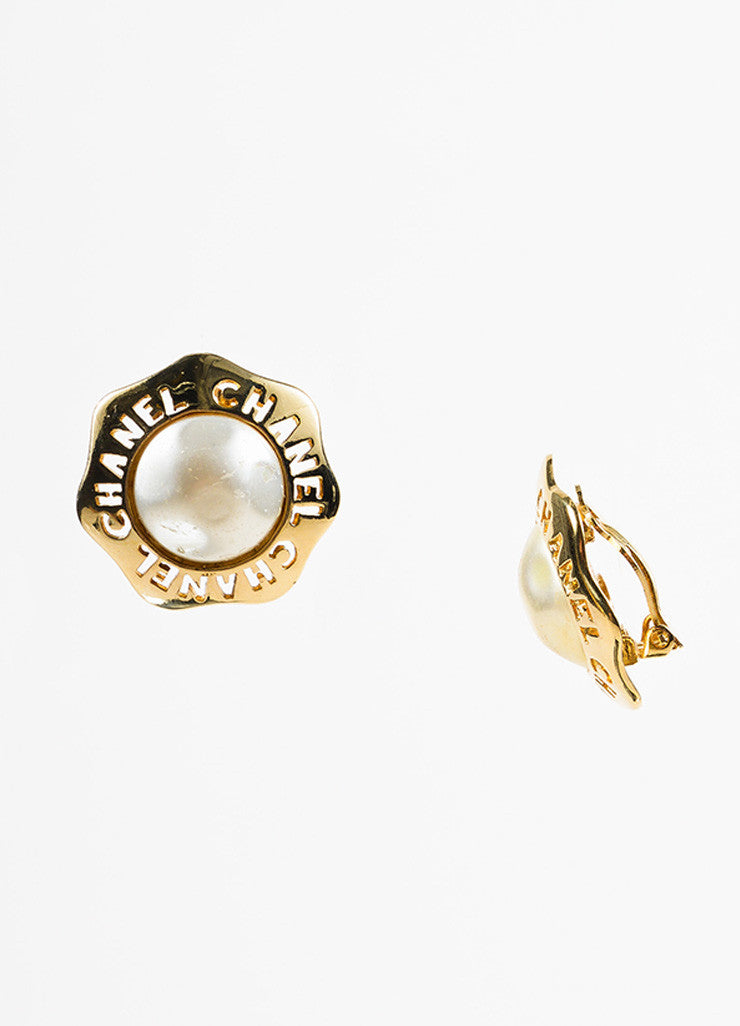 Chanel Gold Toned and Faux Pearl Cut Out Wavy Button Clip On Earrings Sideview