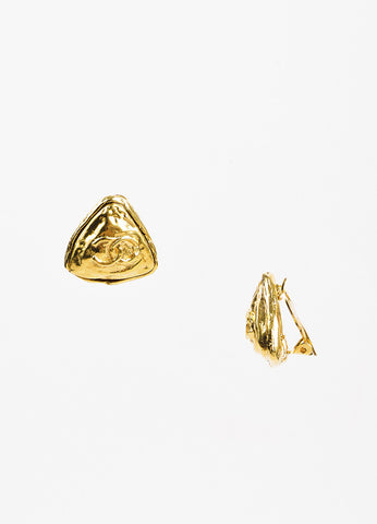 Chanel Gold Toned Hammered 'CC' Triangle Clip On Cocktail Earrings Sideview