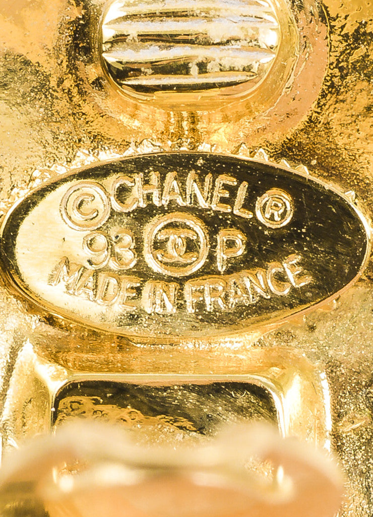 Chanel Gold Toned Quilted 'CC' Logo Round Oversized Clip On Earrings Brand