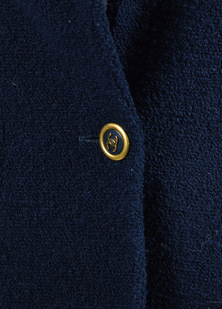 Navy Blue Chanel Wool Boucle 'CC' Button Blazer Detail