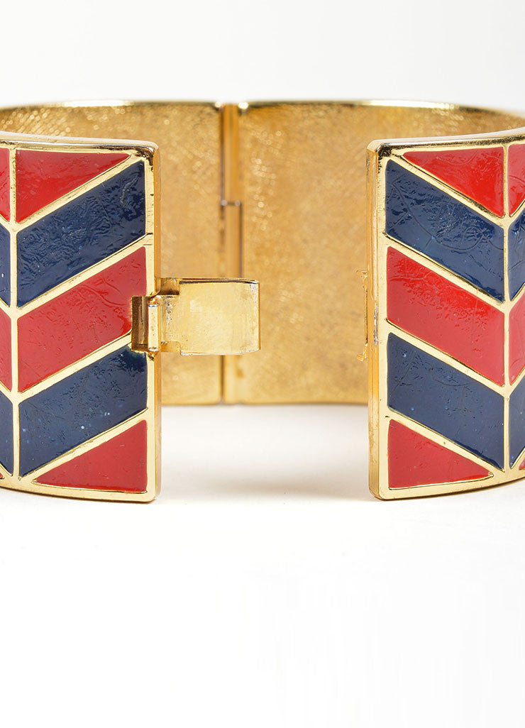 Gold Toned, Red, and Navy Lanvin Enamel Chevron Hinged Wide Bangle Bracelet Backview