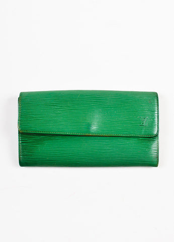 Louis Vuitton Green Epi Leather Long Wallet Frontview