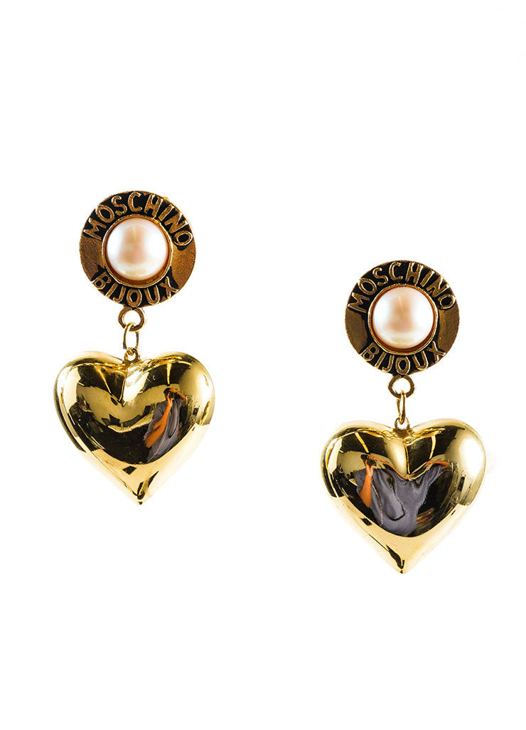 Gold Toned and Faux Pearl Large Heart Drop Bijoux Earrings Frontview