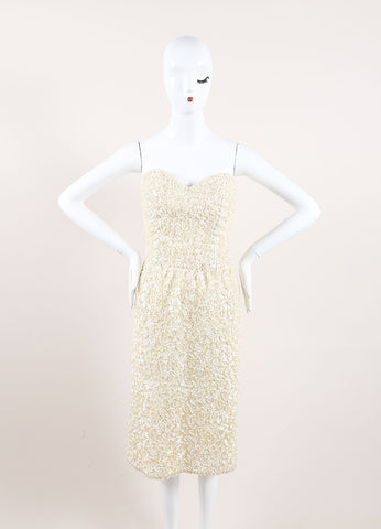 Victor Costa Cream Embroidered Ribbon Embellished Strapless Dress Frontview