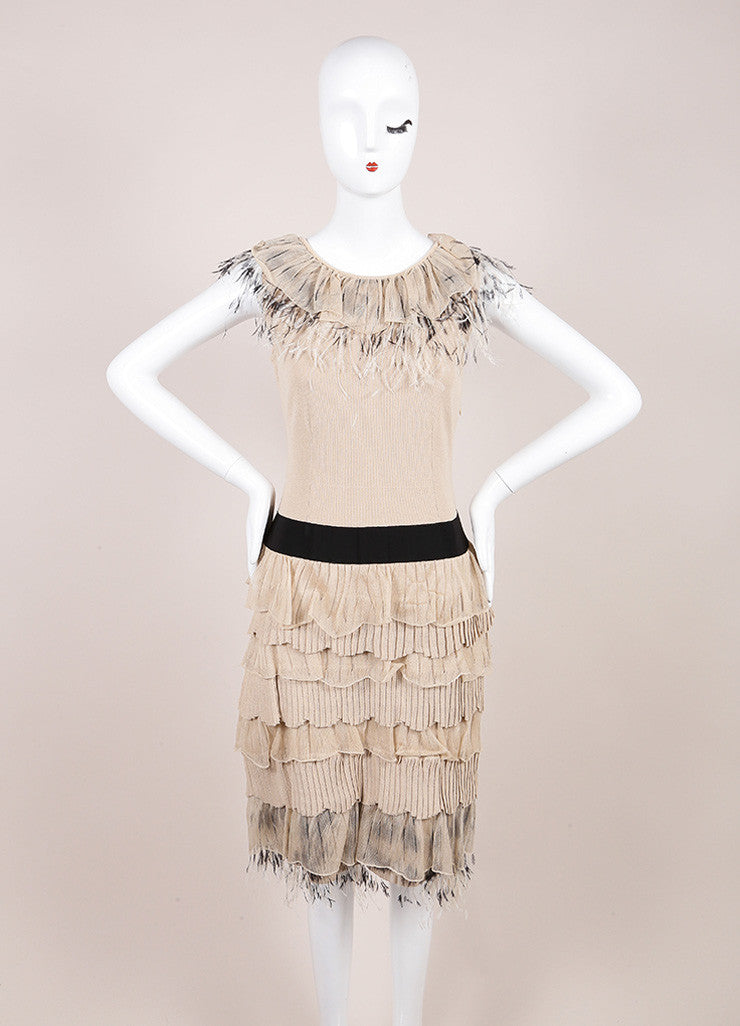 Valentino Beige Fitted Tiered Feather Dress Frontview