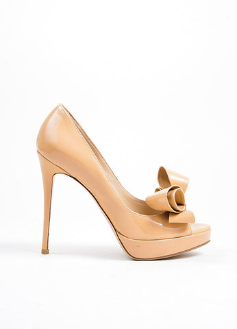 Beige Valentino Patent Leather Oversize Bow Peep Toe Stiletto Pumps Sideview