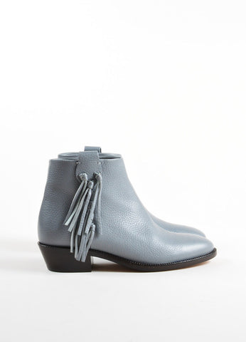 Valentino Grey Pebbled Leather Tassel Ankle Booties Sideview