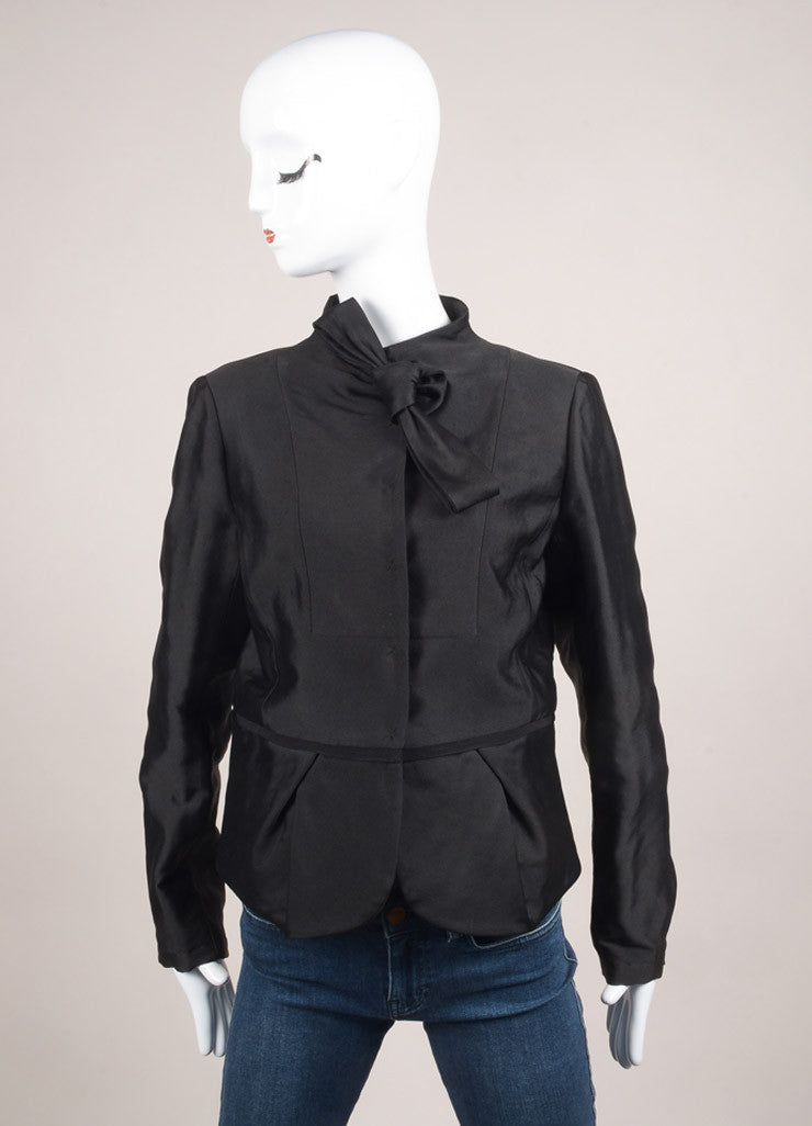 Valentino New With Tags Black Dot Stitch Wool and Silk Neck Tie Pleated Waist Long Sleeve Jacket Frontview