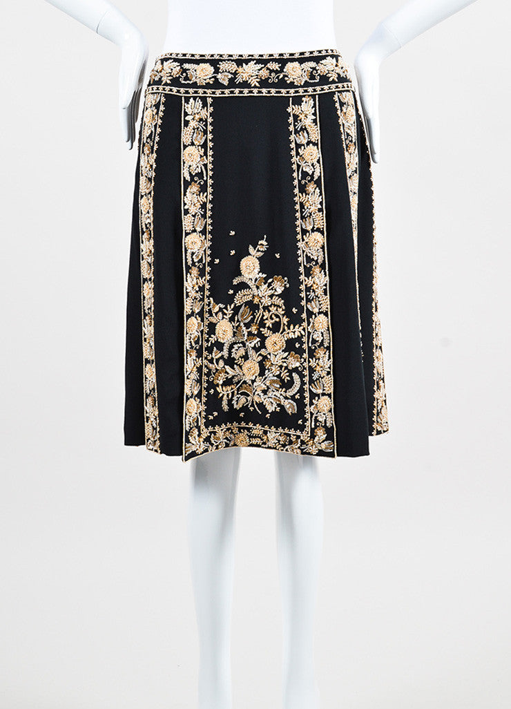 Valentino Black Silk Cream Floral Beaded Pleated Knee Length Skirt Frontview
