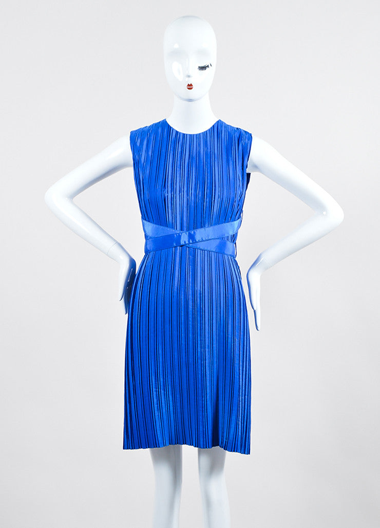 Cobalt Blue Victoria Victoria Beckham Taffeta Pleated Belted Dress Frontview