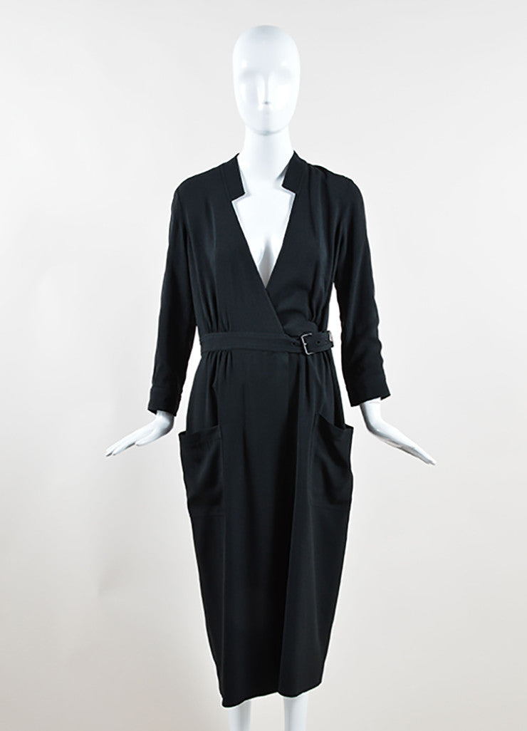 Wes Gordon Black Crepe Wrap Belted Long Sleeve Midi Shirt Dress Frontview
