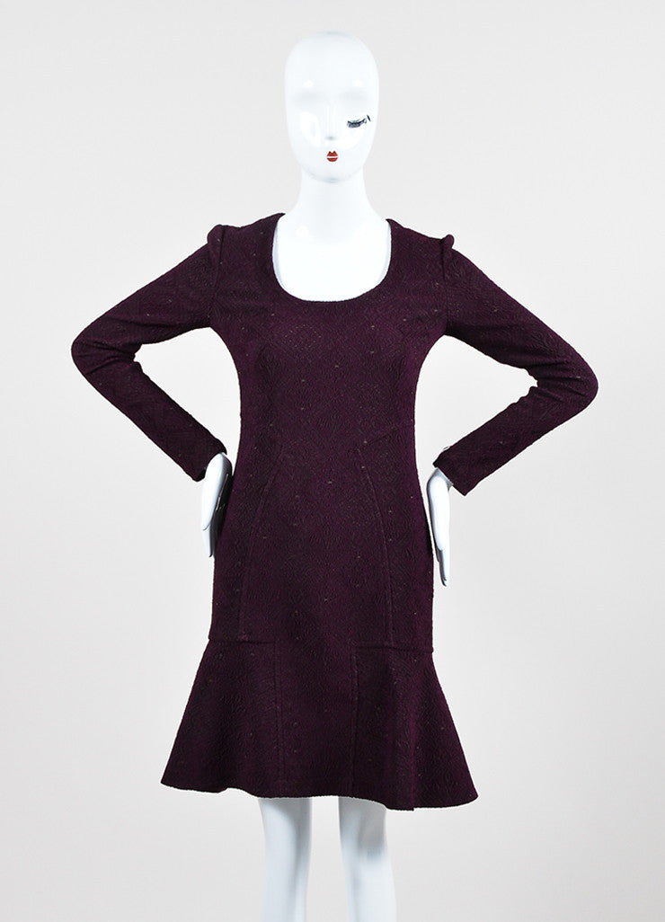 Yigal Azrouel Purple Jacquard Long Sleeve Flounce Dress Frontview