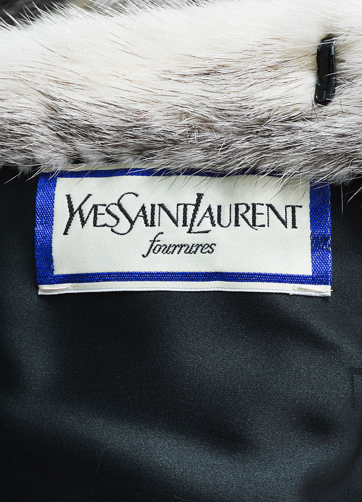 Black and White Yves Saint Laurent Fourrures Striped Fur Chubby Coat Brand