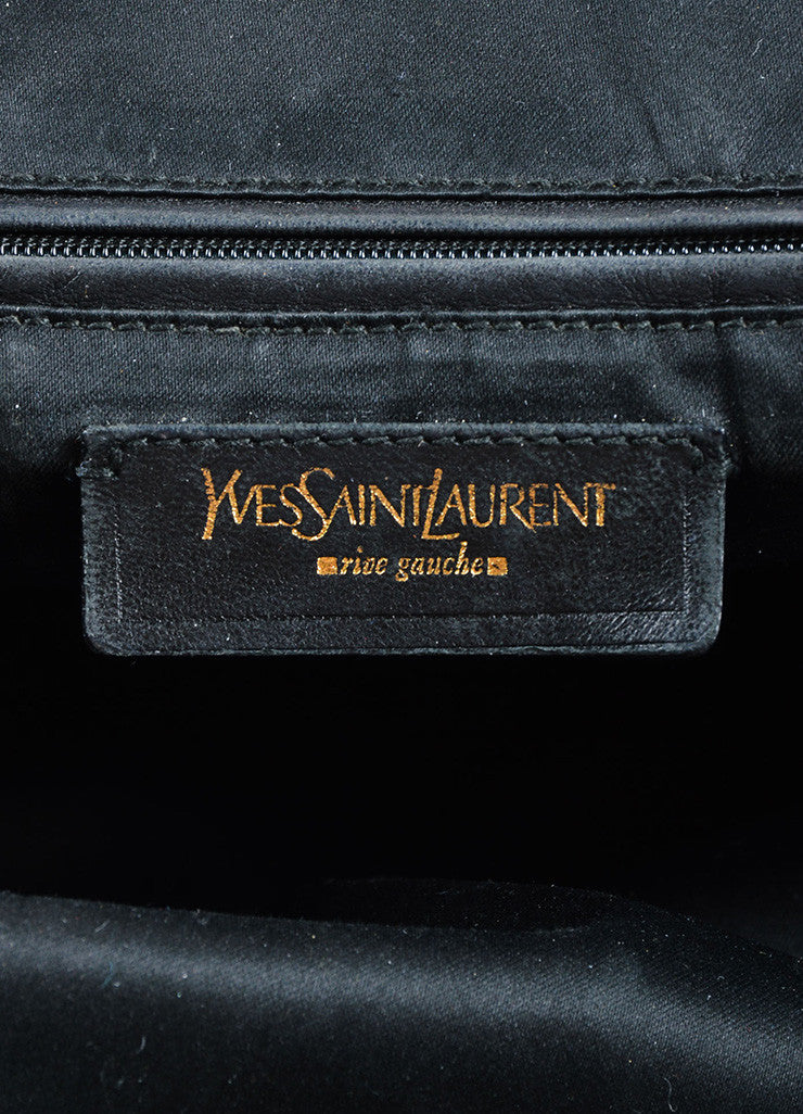 "Yves Saint Laurent Grey and Gold Toned Patent Leather ""Muse"" Tote Bag Brand"