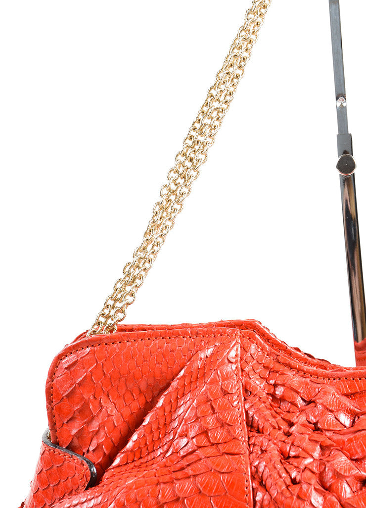 Zagliani Red Python Snakeskin Trim Chain Slouchy Shoulder Bag Detail 2
