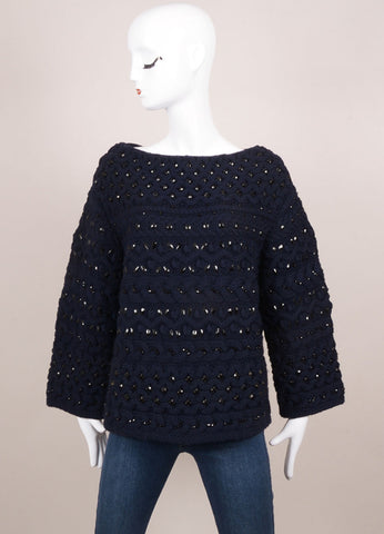 Valentino Navy Wool Cable Knit Jewel Rhinestone Embellished Sweater Frontview