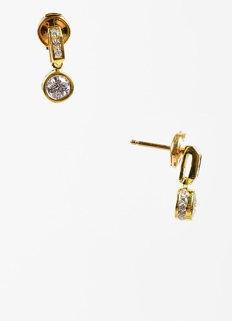 18K Yellow Gold 1.20 ct Round Diamond Embellished Drop Dangle Earrings Detail