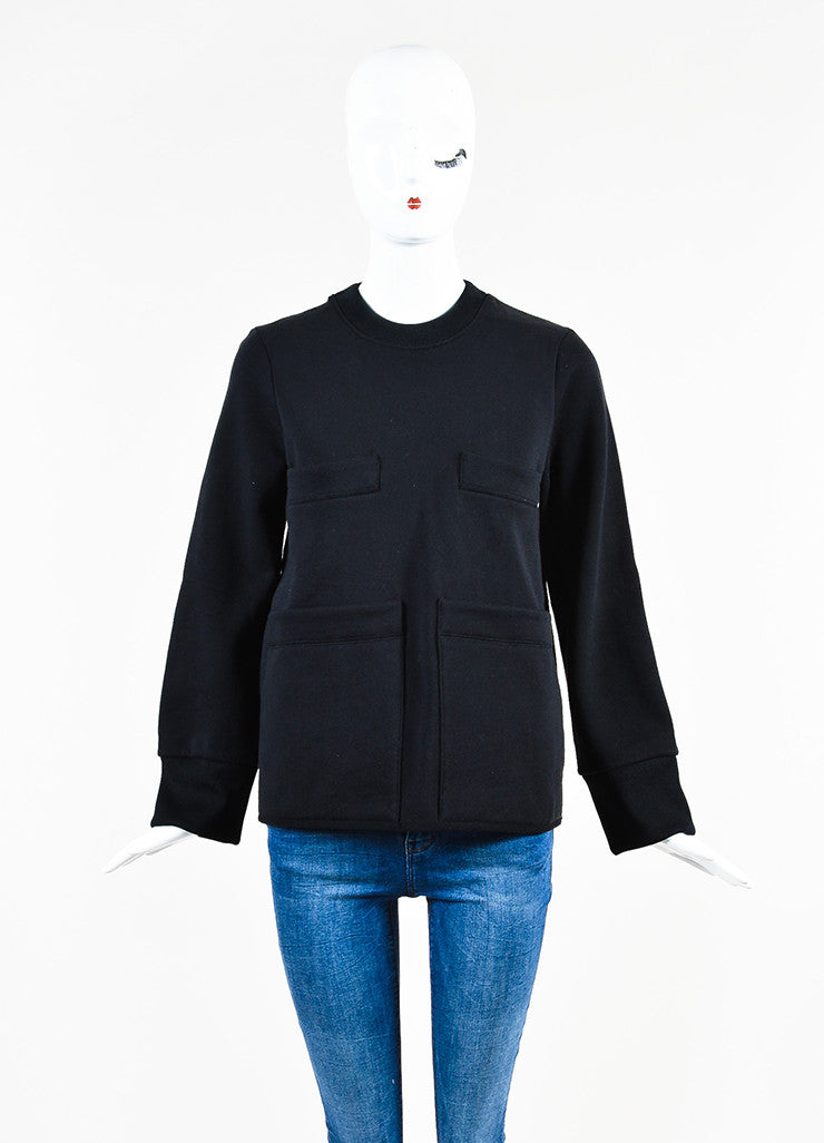 "Acne Studios Black Four Pocket Crew Neck ""Acadia"" Sweatshirt Frontview"