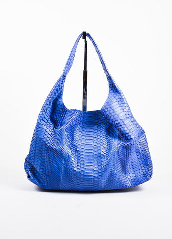 Adriana Castro Blue Python Oversized Hobo Bag Frontview