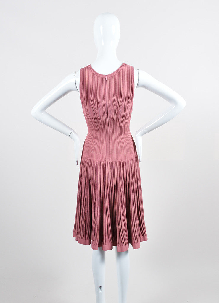 Dusty Pink Alaia Stretch Texture Knit Sleeveless Trumpet Flared Dress Backview