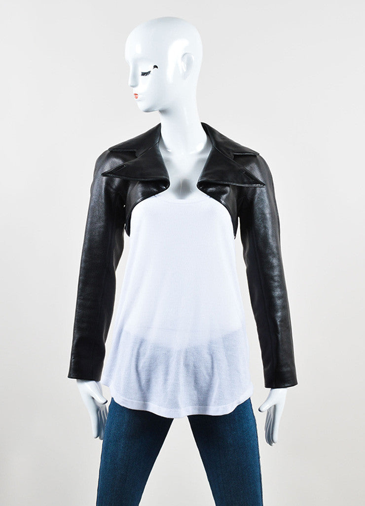 Alaia Black Lamb Leather Cropped Moto Bolero Jacket Frontview