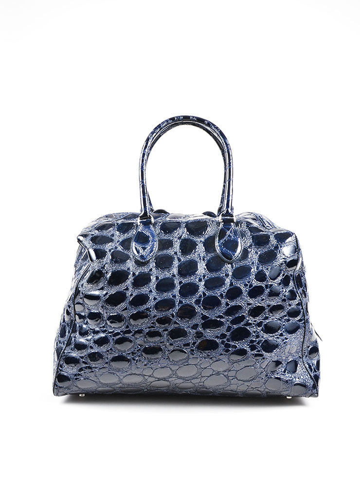 Navy Alaia Patent Leather Alligator Effect Large Satchel Bag Frontview