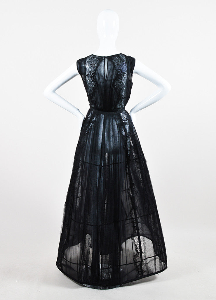 Alberta Ferretti Black Sheer Silk Lace Pleated Structured Sleeveless Gown Backview