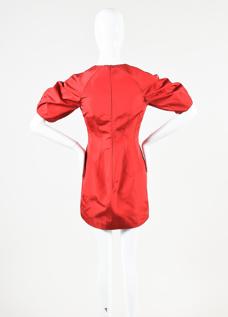 Alexander McQueen Red Silk Taffeta Puff Sleeve Fit and Flare Mini Dress backview