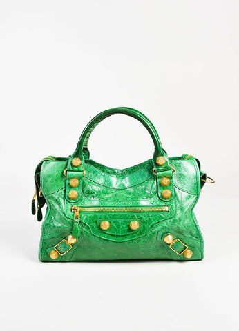 "Balenciaga ""Giant 21 City"" Green Leather GHW Two Way Bag Frontview"