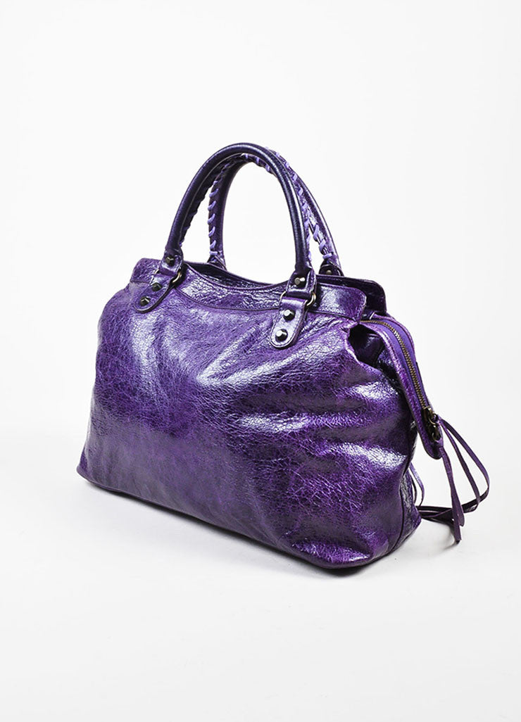 "Balenciaga Purple Wrinkled Leather Brass Stud Fringe ""Classic Step"" Shoulder Bag Sideview"