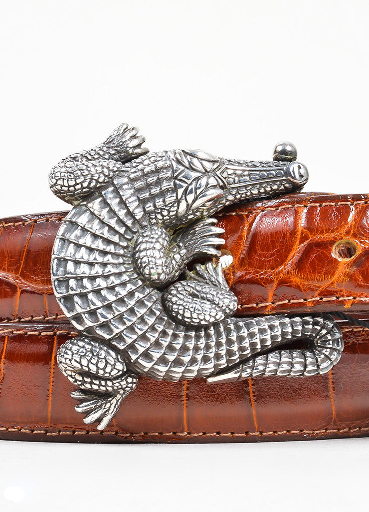 Barry Kieselstein-Cord Brown and Black Interchangeable Strap Alligator Buckle Belt Detail 2