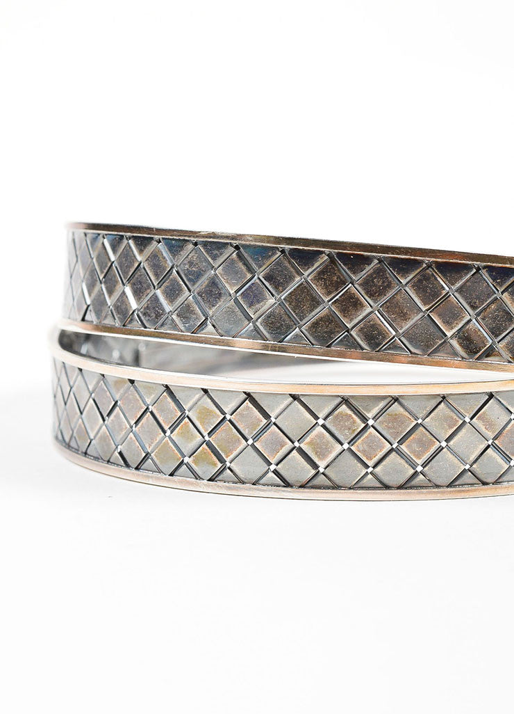 Sterling Silver Bottega Veneta Intrecciato Double Bangle Bracelet Detail
